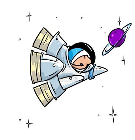 Photo for Rocket space flight astronaut  cartoon illustration - Royalty Free Image