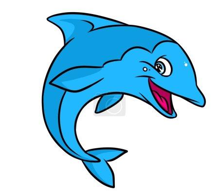 Funny blue dolphin cartoon