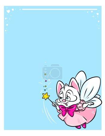Photo pour Mignon chat blanc magique fée vol dessin animé illustration personnage animal - image libre de droit