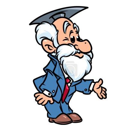 Professor hand gesture cartoon illustration   isol...