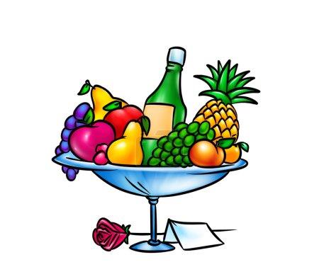 Photo for Vase fruit champagne cartoon illustration - Royalty Free Image
