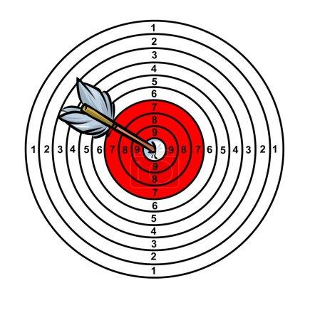 Photo pour Illustration de dessin animé objectif dart flèche - image libre de droit