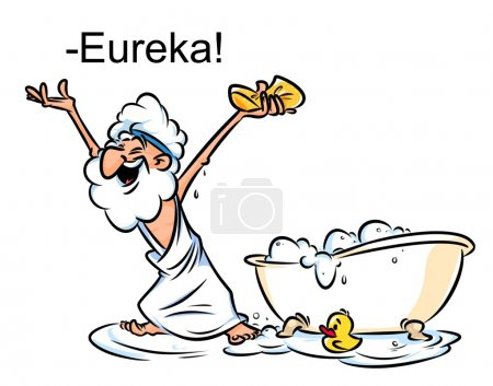 Archimedes Eureka swimming bath cartoon illustrati...