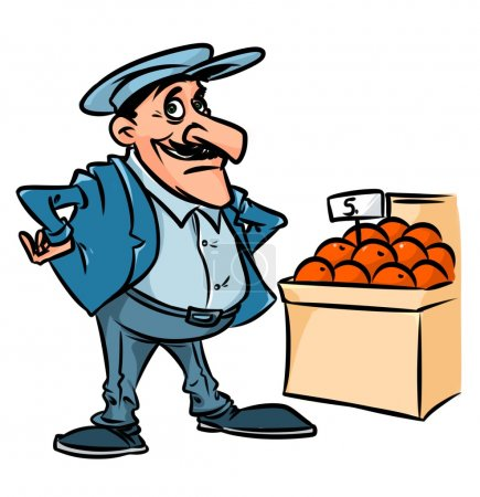 Caucasian dealer fruit character cartoon