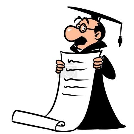 Academic scientist diploma cartoon illustration is...