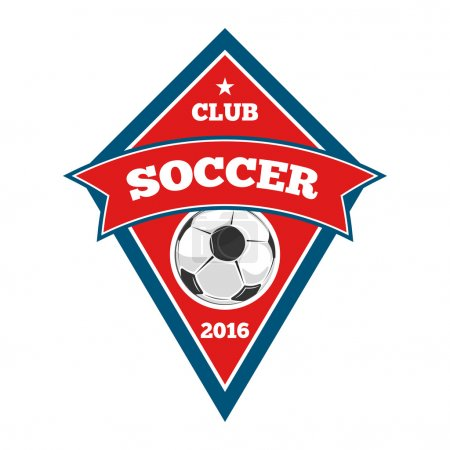 Vector soccer logo, badge, emblem template in red and blue