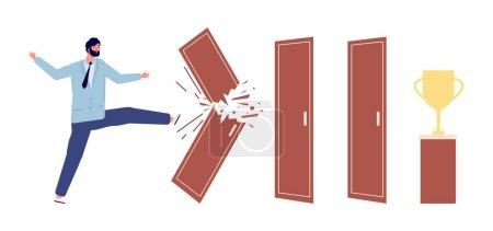 Mann brach Tür auf. Weg zum Erfolg Metapher, Arbeitsfortschritt oder die Überwindung von Hindernissen. Geschäftsmann und Problemvektorkonzept
