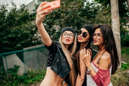 three beautiful girls having fun