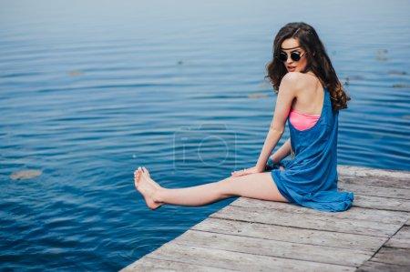 hippie girl near lake