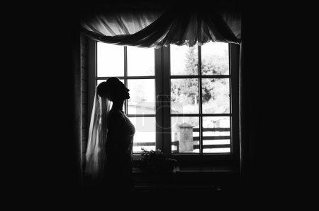 stylish beautiful bride in lingerie
