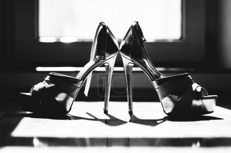 Bride's shoes close up