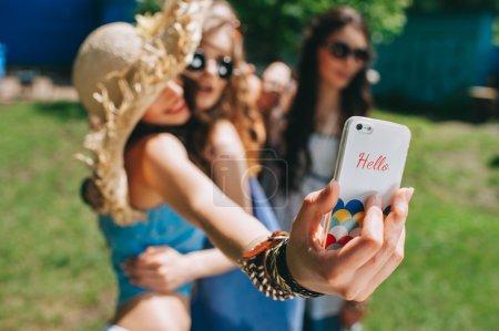 beautiful girls doing selfie