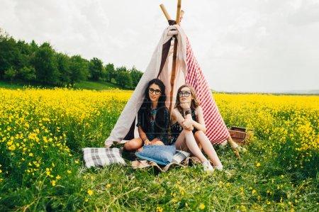 two beautiful hippie girls