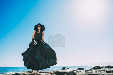 beautiful girl in black long dress