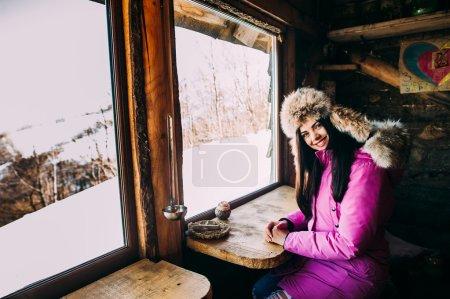 smiling woman enjoying sunny morning