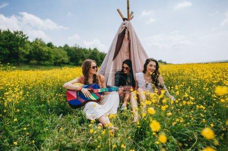 three beautiful hippie girls