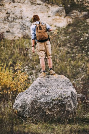Young hiker man withbackpack