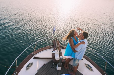 Couple relaxing on the yacht cruise