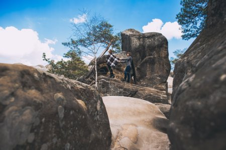 couple in love at Carpathian Mountains