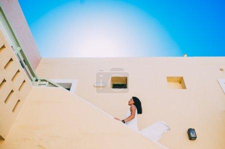 girl walking on stairs