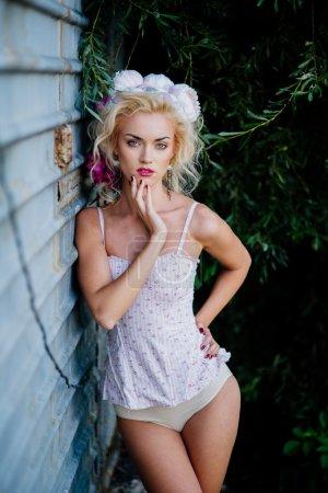 sexy blond woman in white underwear