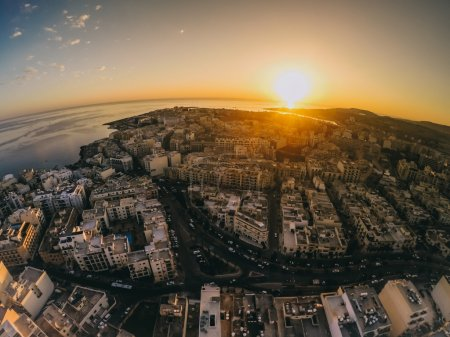 Evening view of Malta with air