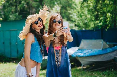 Two beautiful girls hippie