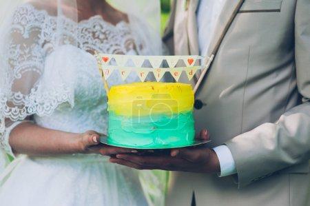yellow and azure Wedding Cake