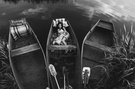 daughter together in a boat