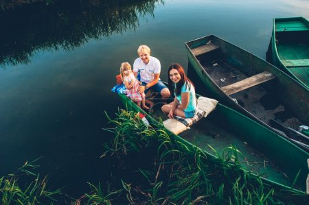 nice family on a boat
