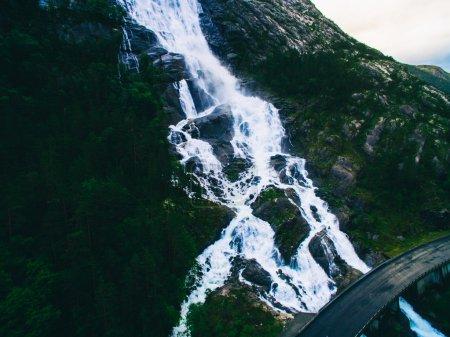 Mountain Langfoss waterfall