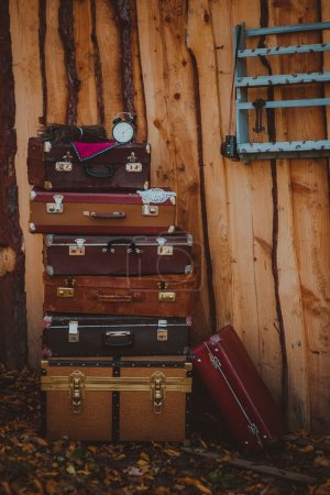 Vintage classic brown leather suitcases.