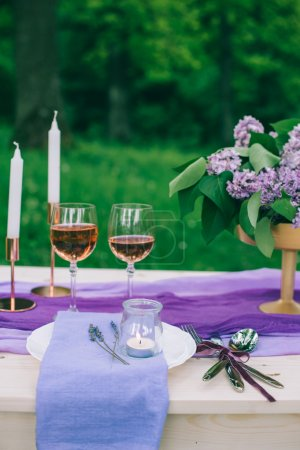 beautifully served purple table