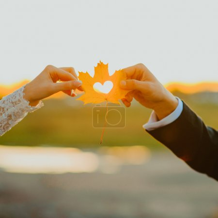 couple's hands holding a heart