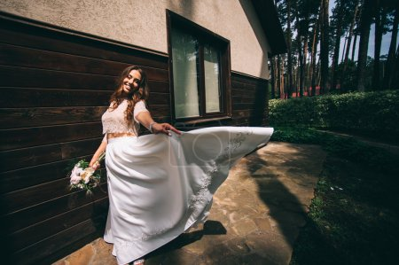beautiful bride on a walk
