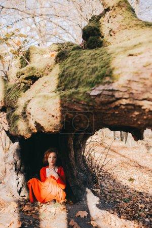 jeune fille dans une forêt mystérieuse