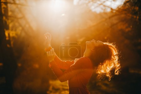 Photo for Tale. fantastic redhead girl in a mysterious forest - Royalty Free Image