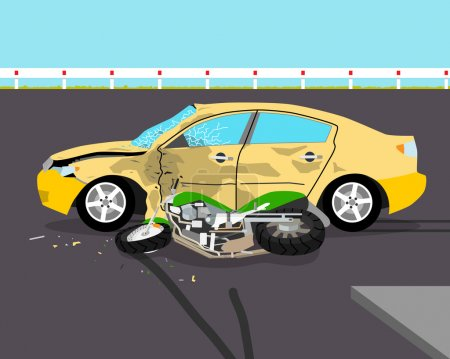 The driver did not see the motorcyclist and knocked him down. Accident. Vector illustration