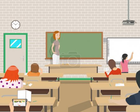 The teacher conducts classes for children in the class but not all children interested in the lesson. Vector illustration