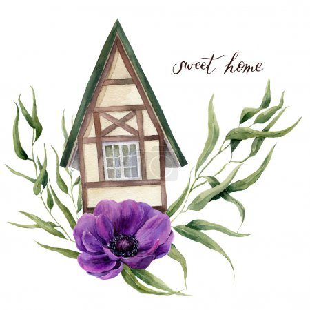 Sweet home watercolor illustration. Watercolor house in Alpine style with eucalyptus leaves and anemone flowers isolated on white background. Hand painted element. For design, textile and background.