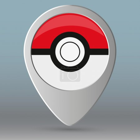 map pin like pokeball. concept of gps navigation, retro mark, cute, find outside, entertainment application.