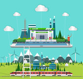 flat concept industrial comunication with train station with ec