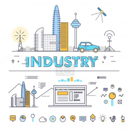 Modern industry thin block line flat icons and composition