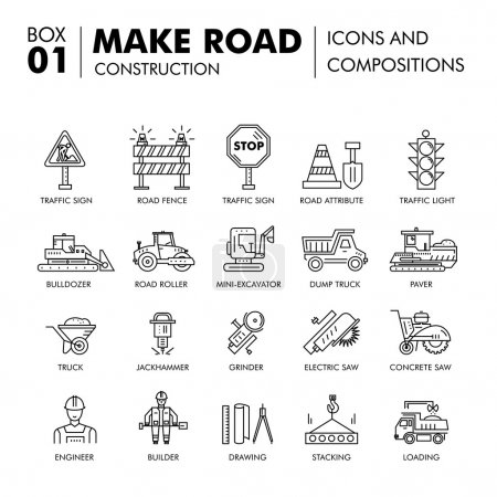 Modern compositions building road construction thin line block