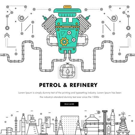 Illustration pour Icônes de couleur plates de ligne de bloc mince d'industrie moderne d'essence et composition avec la technologie de station-service et le programme d'essence de développement - image libre de droit