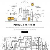 Modern petrol industry thin block line flat color icons