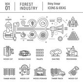 Forest industry in modern thin linear style with various timber