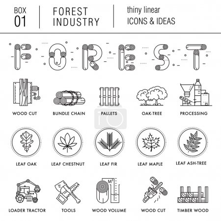 Illustration pour Industrie forestière dans le style linéaire mince moderne avec divers éléments en bois : feuilles, arbres, palettes, camions, stockage, hache. Compositions vraiment professionnelles et meilleure idée du secteur du bois - image libre de droit