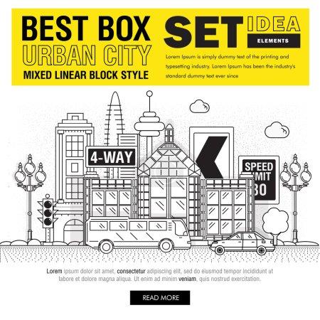 Modern best box urban city elements set ideas