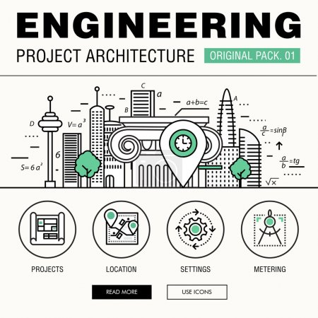 Illustration for Modern engineering construction big pack. Thin line icons architecture. Professional projects drawing future production industry elements. High quality vector symbol. Stroke pictogram for web design. - Royalty Free Image
